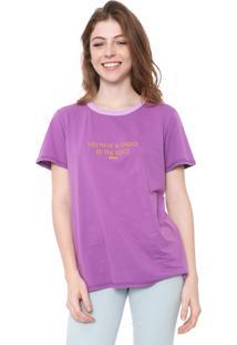 Camiseta Colcci Lettering Roxa