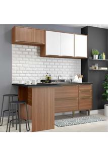 Cozinha Compacta Multimóveis Com 4 Peças Calábria 5460 Nogueira/Branco Marrom