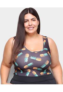 Body Naif Abacaxi Plus Size - Feminino-Preto