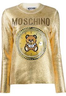 Moschino Suéter Com Bordado - Dourado