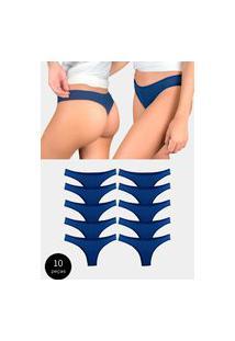 Kit 10 Calcinhas Fio Dental Try Basics Algodão Cotton Básica Lisa Moda Lingerie Azul