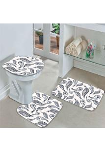 Jogo Tapetes Para Banheiro Penas - Único