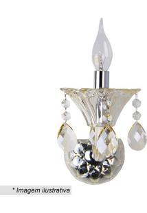 Arandela Maria Thereza- Inox & Cristal- 26X19X19Cm