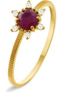 Anel Ouro Amarelo Rubi E Diamantes
