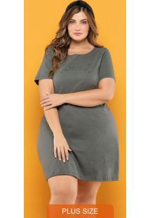 Vestido Plus Size Cinza Granito