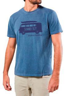 Camiseta Masculina Sandro Clothing Kombi Azul Estonada