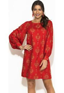 Vestido Estampa Oriental Vermelha