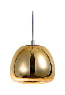 Pendente De Vidro Cabo Ajustável De 170Cm Dourado Espelhado Felix Altaluce