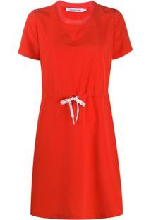 Calvin Klein Jeans Vestido Reto Com Cordão De Ajuste - Vermelho