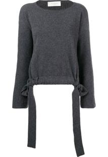 Zanone Slash Neck Drawstring Sweater - Cinza
