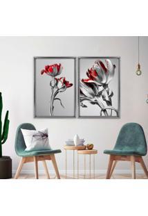 Quadro Love Decor Com Moldura Chanfrada Flores Vermelhas Grafitti Metalizado - Médio