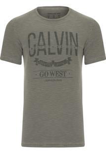 Camiseta Masculina Estampa Calvin Go West - Verde