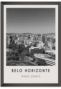 Quadro Oppen House 65X45Cm Cidades Belo Horizonte Brasil Moldura Preta Sem Vidro - Oppen House Decora