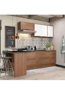 Cozinha Compacta 7 Portas 4 Gavetas 5455 Nogueira/Branco - Multimóveis
