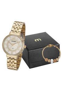 Kit De Relógio Analógico Mondaine Feminino + Pulseira - 99461Lpmvde1K1 Dourado