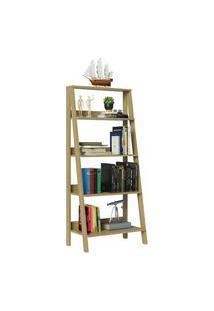 Estante Escada Para Livros Com 4 Prateleiras Madesa Carvalho Madesa