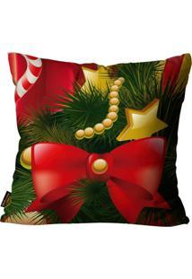 Capa Para Almofada Mdecore Natal Laço Vermelha 45X45Cm