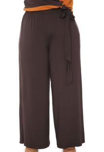 Calça Melinde Pantalona Lisa Marrom - Kanui