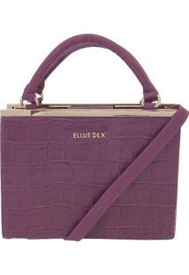 Bolsa Ellus Handbag Croco Metal Roxa