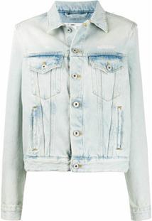 Off-White Jaqueta Jeans Desbotada - Azul