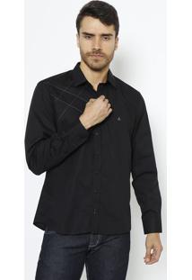 Camisa Slim Fit Com Pespontos - Preta & Roxavip Reserva