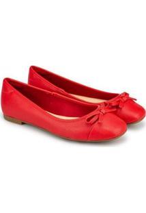 Sapatilha Napa Batida Candy Bico Quadrado Sapatinho De Luxo - Feminino-Vermelho