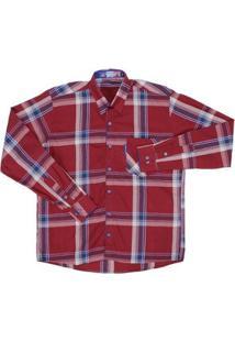 Camisa Manga Longa Masculina Xadrez Rode - Masculino-Vermelho