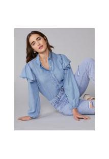 Amaro Feminino Camisa Jeans Ombro Com Babado, Azul Indigo