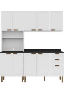 Cozinha Modulada 4 Peças Com Tampo E Nevada 5906Tp-Multimóveis - Branco Premium