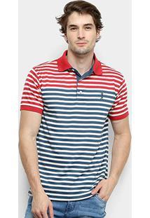 Camisa Polo Aleatory Listrada Masculina - Masculino-Vermelho+Azul