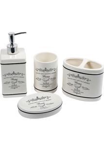 Conjunto De Acessórios Para Banheiro Em Cerâmica Paris Com 4 Peças Branco