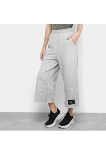 Calça Calvin Klein Pantacourt Etiqueta Logo Feminina - Feminino-Mescla