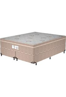 Cama Box King Essential – Probel - Branco / Marrom / Camurça