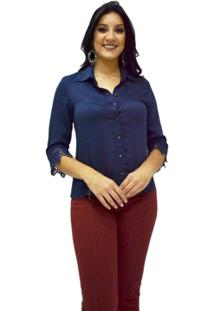 Camisa Manga Longa Moché - Feminino-Marinho