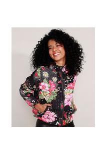Jaqueta Corta Vento Estampada Floral Com Capuz Preta