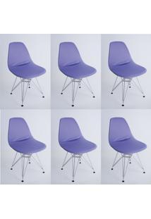 Kit Com 06 Capas Para Cadeira Charles Eames Eiffel Wood Lilas