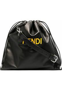 Fendi Fendi Roma Drawstring Crossbody Bag - Preto