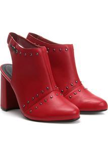 Ankle Boot Cravo & Canela Salto Grosso Tachas - Feminino-Vermelho