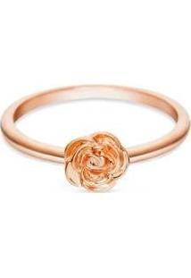 Anel Vivara Life Flor Rosa Com Banho Ouro Feminino - Feminino-Rosê