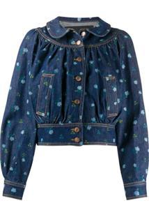 Marc Jacobs Jaqueta Jeans Gola Peter Pan Floral - Azul