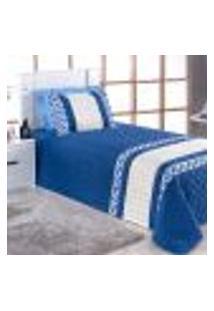 Kit Cobre Leito Infantil Menino Azul Matelado 3 Peças 2,50M X 1,80M Com Porta Travesseiro