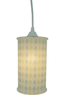 Luminária Pendente Cilíndrica Crie Casa Losangos Azul