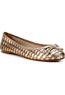 Sapatilha Couro Shoestock Bico Redondo Tressê Feminina - Feminino-Dourado
