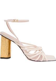 Sandália Feminina Salto Gold - Off White