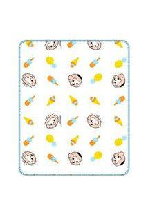 Cobertor Bebê Masculino Cebolinha E Cascão Baby Branco E Azul (90X110Cm) - Turma Da Mônica - Tamanho Único - Branco,Azul