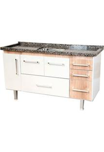 Gabinete De Cozinha New Life 147,3X55Cm Branco E Madeirado Bonatto