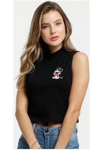 Blusa Feminina Cropped Patch Mickey Disney