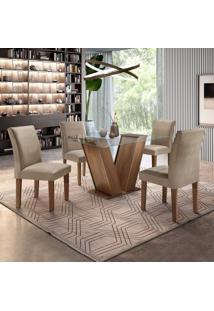 Conjunto Sala De Jantar Mesa Tampo De Vidro E 4 Cadeiras Classic Cel Móveis Chocolate/Pena 84