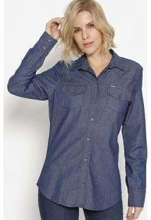 Camisa Jeans Bolsos - Azul Escuro- M. Officerm. Officer