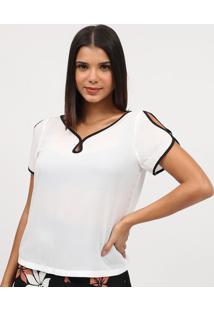 Blusa Com Recortes Vazados- Branca & Preta- Milioremiliore